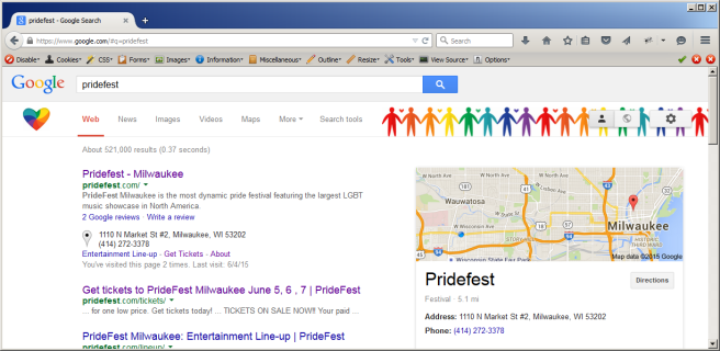 Custom Pridefest Border on Google!